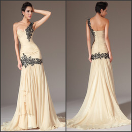 2014 New Arrival One Shoulder Appliques Ruched Bodice Sheath Evening Dress Chiffon Prom Dress Ball Gown