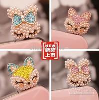 Wholesale Pearl diamond fox iphone4s phone dust plug the headphone plug MM