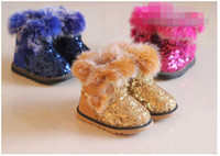 Wholesale EMS Fashion Girl Fur Edge Paillette Boot Kid Outwear Fluffy Hem Sharp Beads Shoes Child Shoe Sole Cowhells Color D0541