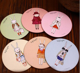 Wholesale Cute Bunny Pattern Mirror Makeup Tools Women Compact Mirrors Styles Lovely Cartoon Mirrors B1959