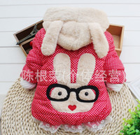 Girl berber fleece  Hooded EMS Free 2013 New Winter Girl Berber Fleece Polka-Dot Ear Hoodie Outwear Girl Coat C0129