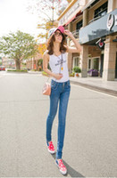 Wholesale lady jeans sexy elastan jeans blue colors slim fit sexy jeans sell at lfacotry price but high quality