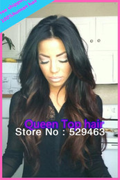 Wholesale Fashion Wavy Brazilian Virgin hair Glueless Full Lace Wigs Two tone color b natural hairline For Fashion Women Freeshiping