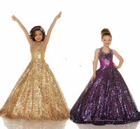 2013 Hot Sales Halter Sequins Gold Ball gown Sequins Glitz p...
