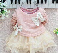 Wholesale Autumn New Arrival Baby Girl s Cute Dresses Kids Long Sleeve Big Bow Pearl Lace Yarn TUTU Dress Children s Wear Clothing