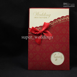 Wholesale Customized Red Flower Print Flower Words Wedding Invitation Insert Invitations Card Favors