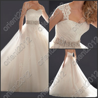 Wholesale 2014 New Style A Line Wedding Dress Appliques Beads Removable Straps Wedding Gown Bow Sleeveless Sweep Train Bride Dresses