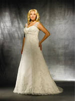plus size wedding dresses - 2015 Modest Royal beaded cap sleeve sweetheart A line plus size ivory lace bridal wedding dresses