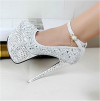 Wholesale New cm Super High Heels Europe and the runway waterproof Taiwan diamond rivets sexy nightclub wedding shoes women s shoes