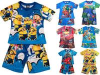 2015 Vêtements pour enfants Vêtements pour enfants ensemble pyjamas pour dessin animés Nouveaux vêtements pour enfants Iron Man Design Cool en été Costumes en manches courtes 12 set lot