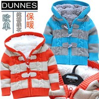 Baby Down & Parkas Regular Christmas gift R2013 new baby boy winter coat baby clothes cool striped sweater sherpa paragraph shipping
