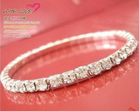 Wholesale Hot sale Full diamond single row of rhinestones stretch bracelets crystal bracelets jewelry mix color CBR37