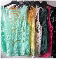 Wholesale women sexy dresses new fashion gauze crochet Sleeveless embroidery lace bud silk unlined Ladies Blouses upper garmen girl dresses