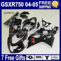 Precio de Suzuki gsxr750 fairing-7gifts + chimenea encaja K4 04 05 SUZUKI GSX-R750 brillante negro GSXR750 libre Custom MF106J47 GSXR-750 GSXR 750 2004 2005 todos los carenados de cuerpo negro