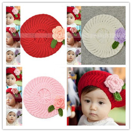 Baby Beret Hat Crochet Hats Kids Knitted Wool Cap Children Beanie Infant Flower Hats Caps Handmade Earflap Christmas Gift 10pcs
