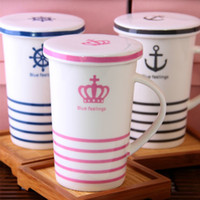ECO Friendly white mugs - Dia cm Navy Style Porcelain Coffee Mug with Cover White Milk Cup Household Drinkware SH138