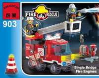 Building Blocks  Free shipping fire fighting truck DIY Bricks Toys A variety of combination way