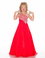 Reference Images Girl Beads 2014 New One Shoulder Red Chiffon A Line Pageant Dresses Rhinestones Beaded Top Flower Girl Gowns 43045S