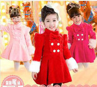 Girl Spring / Autumn Coat Children's Coat Christmas Autumn Winter Princess girls overcoat double-breasted bowknot solid thicken red pink rose