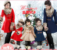 Girl Winter Coat Hot Sale New Christmas Children's Coat Princess girls overcoat for winter thicken solid red dark blue light apricot