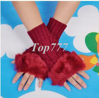 Wholesale Fashion Winter Arm Warmer Fingerless Gloves Knitted Fur Trim Gloves Mitten