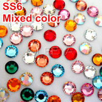 Wholesale Mixed Colors over colors SS6 mm Bag DMC HotFix FlatBack Rhinestones Hot Fix iron on Garment Crystal Stones