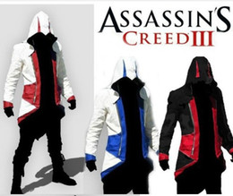Wholesale Assassins Creed III Conner Kenway Hoodie Coat Cosplay Costume PU FAUX assassins creed style cloth