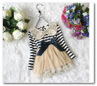 Wholesale Hot sale Sequins lace collar stripe yarn tutu dress girl cute Bow long sleeve princess dress kid autumn dress child clothes