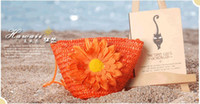 Wholesale 2013 Fashion Cheap Straw Bag Colors Woven Women Handbag Beach Bag Flower Handbag L325