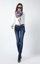 Wholesale Autumn Spring New Style Zipper Fly Denim Slim Skinny Womens Pencil Jeans True Blue qjq48