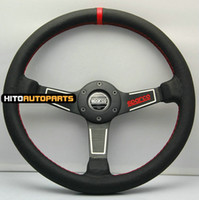 Wholesale New Model quot SPARCO Racing Car Steering Wheel mm Real Leather RED Stitch