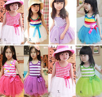 Wholesale Princess Girl Stripe Tiered Lace Yarn Veil Pleated Sleeveless Dress Kid Clothing Layered Chiffon Tulle Ruffle Vest Dresses COLOR D0544