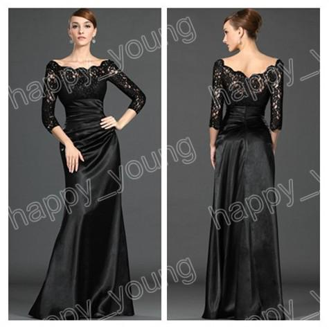 2014 Black Mother Of The Bride Dress Wedding Wear Half Sleeve Lace ...
