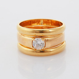 With Gift Box New 3 Layers Sparkle Zircon Rings For Men   Women 18K Real Yellow Gold Plated Knuckle Statement Jewelry R105-3