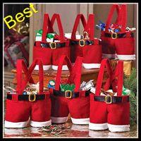 Wholesale New Santa Pants Bag Elf Style Christmas Creative Decorations Favors Candy Box Wedding Xmas New Year Gift Bags Santa Straps Shorts Bag