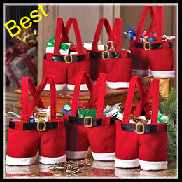 New Santa Pants Bag Elf Style Christmas Creative Decorations Favors Candy Box Wedding Xmas New Year Gift Bags Santa Straps Shorts Bag