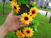 brand new silk flower heads - HOT m quot Length Artificial Silk Flowers Simulation Little Sunflower Cane Thirteen Flower Heads Pipe Decorative Decoration