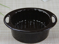 Wholesale Glaze ceramic tableware baking oven microwave oven apply wave small ears roasted bowl of salad bowl fm078