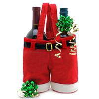 SD125ZB big christmas ornaments - 2013 Santa Straps Shorts Bag Big Size Christmas Gift Bag Wedding Xmas New Year Red Wine Bags Chirstmas Decorations Santa Pants Ornaments