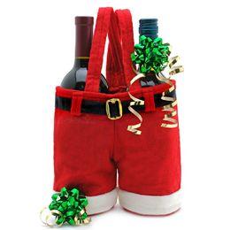 Wholesale 2013 Santa Straps Shorts Bag Big Size Christmas Gift Bag Wedding Xmas New Year Red Wine Bags Chirstmas Decorations Santa Pants Ornaments
