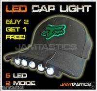 Wholesale Free DHL LED baseball Cap hat light head torch carp fishing camping bike bivvy fox hunt