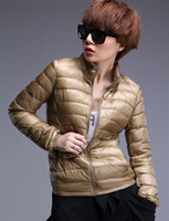 Women Middle_Length Down Women blazer down coat zipper down overcoat winter warm outwear parkas jacket stand collar ultra thin and light short style 7colors 4sizes