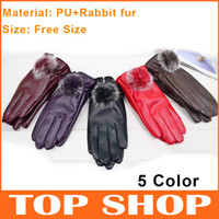 Plain leather winter gloves - Five Fingers Gloves PU Leather Lady Glove Winter Rabbit Fur Warm Free Size Mittens Color