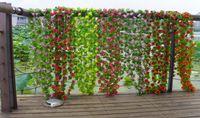 Wholesale 2m quot Length Artificial Silk Flowers Simulation Plastic Rose Vine Garland of Flower Wreaths Home Party Christmas Pipeline Decoration