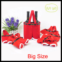 Wholesale 2013 Santa Straps Shorts Bag Big Size Christmas Gift Bag Wedding Xmas New Year Red Wine Bags Chirstmas Decorations Santa Pants Ornaments