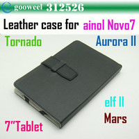 Wholesale Leather case for inch tablet pc for ainol novo7 aurora II Elf II Tornados Mars Freeshipping Drop shipping