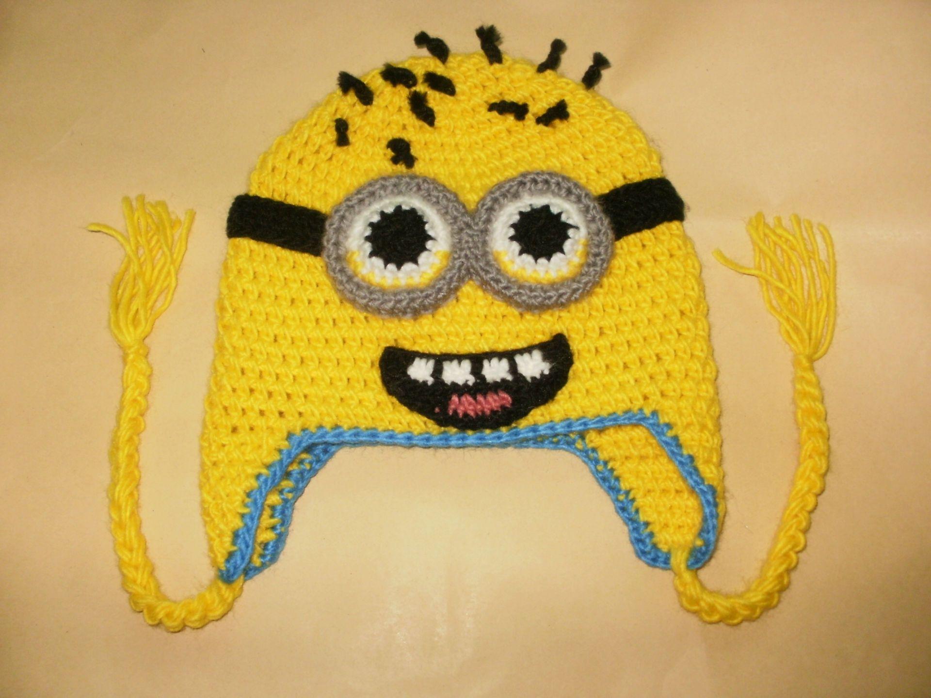 Knitting Pattern Minion Despicable Me Hat : Despicable Me Hat Knit Despicable Me Minion Hat Ear Flap Hat Handmade Crochet...