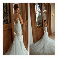 Wholesale 2014 New elegant mermaid spaghetti strap backless galia lahav wedding dresses beaded chapel train lace bridal wedding gowns1024B