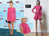 Model Pictures Crew Organza Katie Cassidy in 2013 Teen Choice Awards Sexy Knee Length Long Sleeve Backless Lace Celebrity Evening Dresses