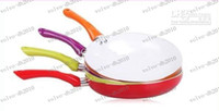 Wholesale LLFA3060 cm Colorful ceramic pan ceramic coating smoke free non stick cookware colors select red purple